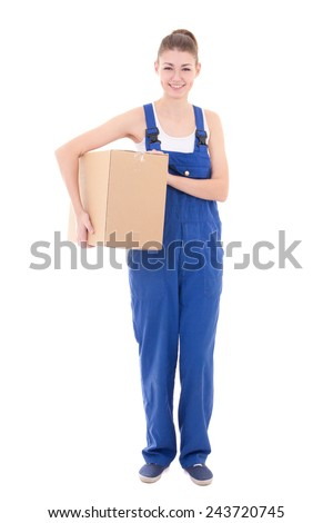 young attractive woman in blue workwear holding cardboard box isolated on white background
