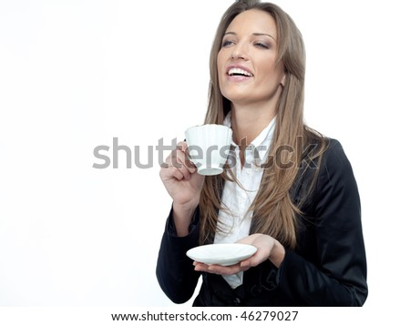 young attractive woman in suit with cup on white background - stock photo