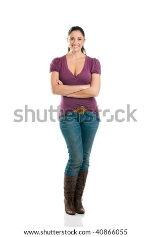 Young attractive woman looking at camera with confidence isolated full length - stock photo