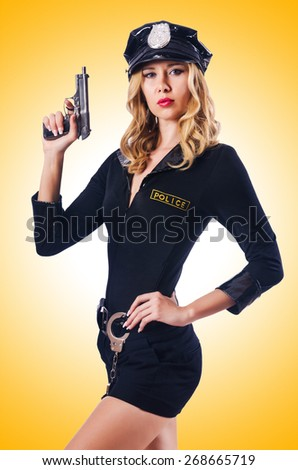 Young attractive woman police - stock photo