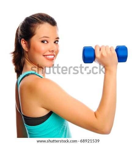 Young attractive woman trains and tones with weights, isolated on white