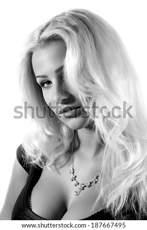 Young attractive woman with a white hair in the studio