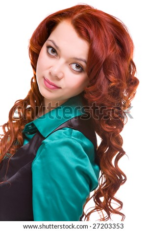 young attractive woman with long rust-coloured hair - stock photo