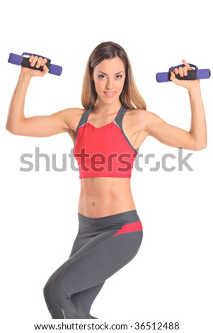 Young attractive woman with weights isolated on white background - stock photo