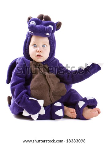 Young baby boy dressed in halloween party costume isolated on white background