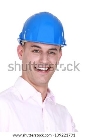 Young bald architect - stock photo