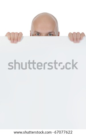 young bald man holding large blank. Isolated on white background - stock photo