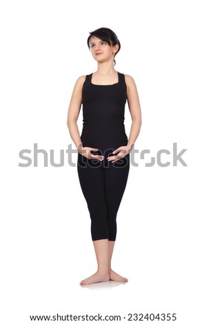 Young balet dancer isolated on white background - stock photo