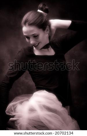young ballerina exercise, studio shot - stock photo