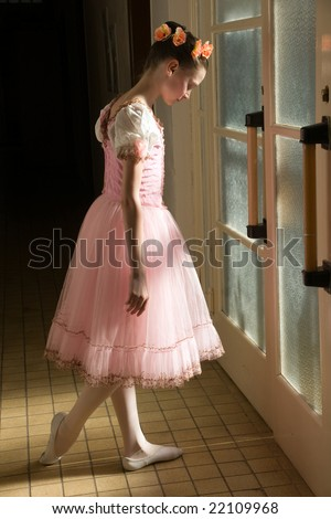 young ballerina in tutu before appearance - stock photo