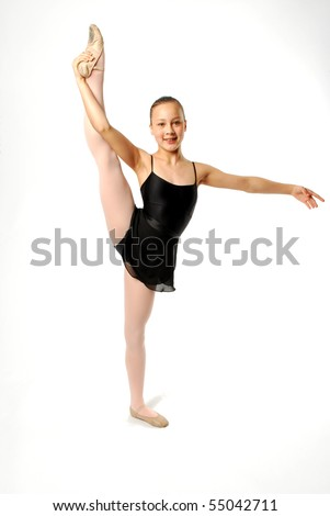 Young Ballerina Stretching - stock photo