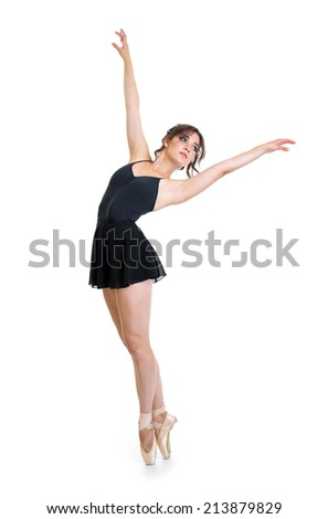 young ballet dancer girl isolated on white
