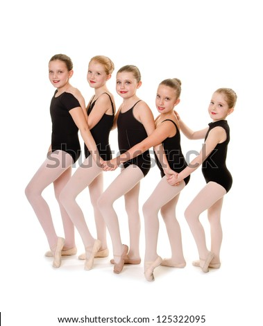 Young Ballet Dancers Lineup in Class - stock photo