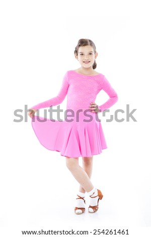 young ballroom dancer girl with a beautiful dress on a white isolated background