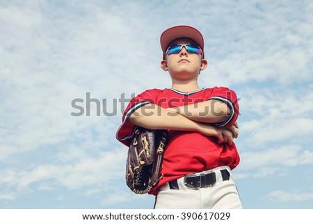 Young baseball pitcher - stock photo