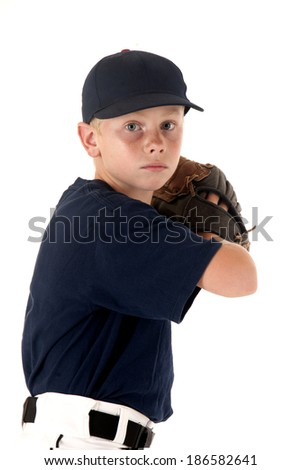 young baseball pitcher ready to throw pitch - stock photo