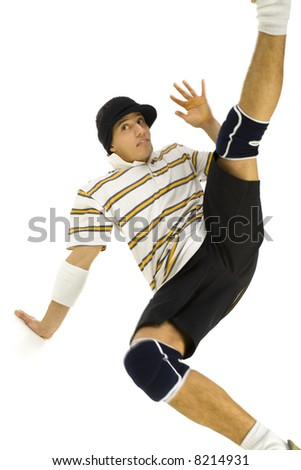 Young bboy standing on hands. Holding legs in air and waving off. Looking at something. Front view, white background - stock photo