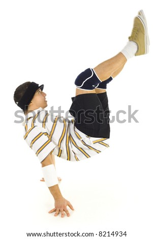 Young bboy standing on hands. Holding legs in air. Isolated on white in studio. Side view, whole body - stock photo