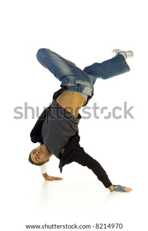 Young bboy standing on hands. Holding legs in air. Looking at camera. Isolated on white in studio. Side view, whole body - stock photo
