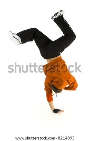 Young bboy standing on one hand. Holding legs in air. Isolated on white in studio. Rear view, whole body - stock photo
