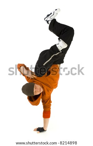 Young bboy standing on one hand. Holding legs in air. Isolated on white in studio. Side view, whole body - stock photo