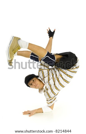 Young bboy standing on one hand. Holding legs in air. Looking at camera. Isolated on white in studio. Front view, whole body - stock photo