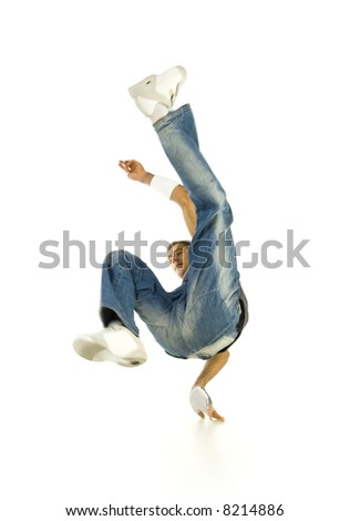 Young bboy standing on one hand. Holding legs in air. Looking at something. Isolated on white in studio - stock photo