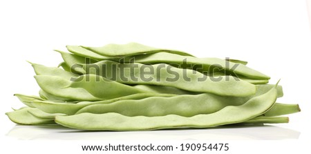 young bean pods isolated on white  - stock photo