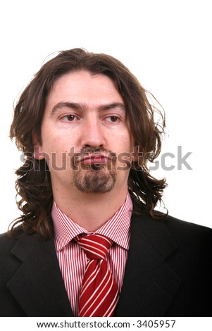 young beard man portrait isolated on white