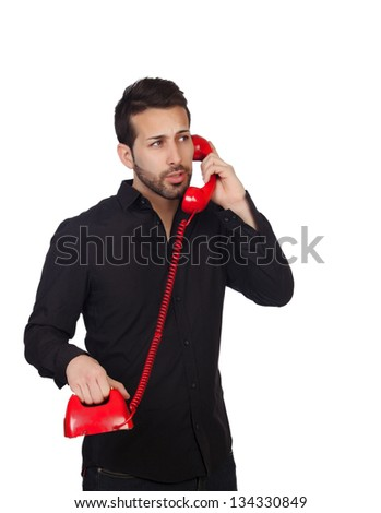 Young bearded businessman at phone isolated on white background - stock photo