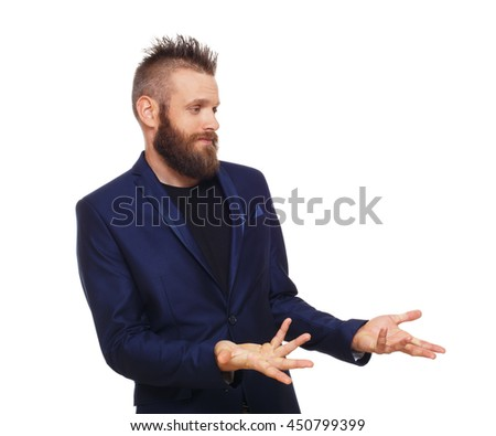 Young bearded man isolated at white background. Side view portrait of guy with beard disappointed, frustrated, annoyed. - stock photo