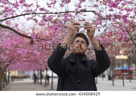 young bearded man tourist standing outdoors in park with blossoming trees and taking picture on phone - stock photo