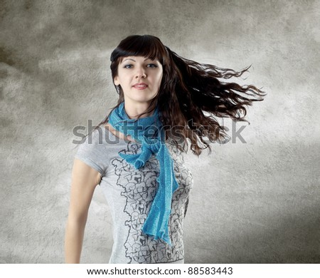 Young beatiful caucasian women with hair on the wind - stock photo