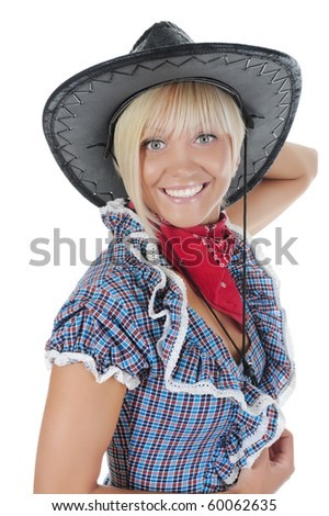 Young beauti cowgirl. Isolated on white background - stock photo