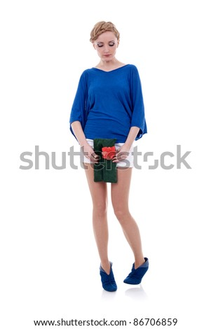 young beautiful adult girl  holding a nice purse and looking down, over white - stock photo