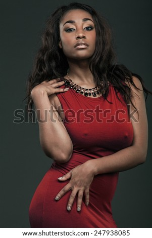 Young beautiful African American woman. - stock photo