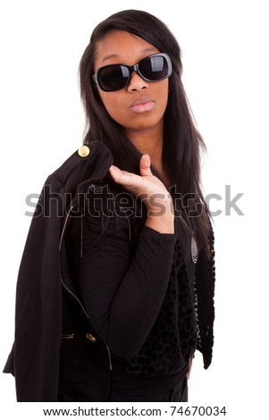Young Beautiful african american woman isolated on a white background