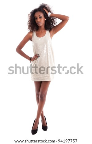 Young beautiful African American woman , isolated on white background - stock photo