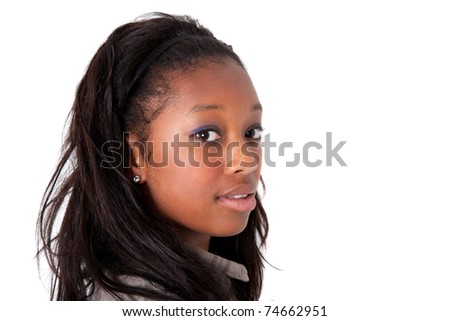 Young beautiful  african american woman looking - stock photo