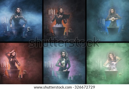 Young, beautiful and glamour magician (collage for Halloween) - stock photo