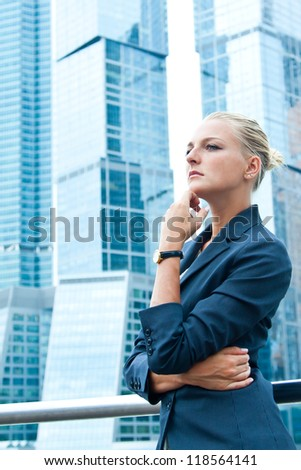 Young, beautiful and successful businesswoman - stock photo