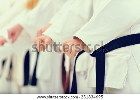 young, beautiful and successful karate woman and man in karate position - stock photo