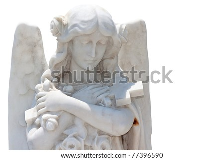 Young beautiful angel hugging a cross isolated on a white background with clipping path - stock photo