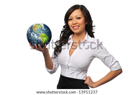 Young beautiful asian businesswoman holding the earth isolated on white