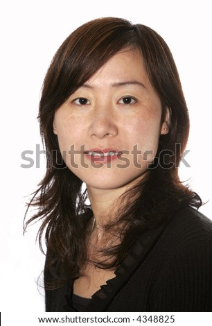Young Beautiful Asian Woman In Casual Black Clothes - stock photo