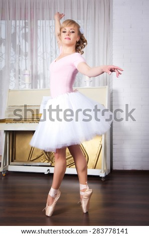 Young beautiful ballerina posing in dance studio