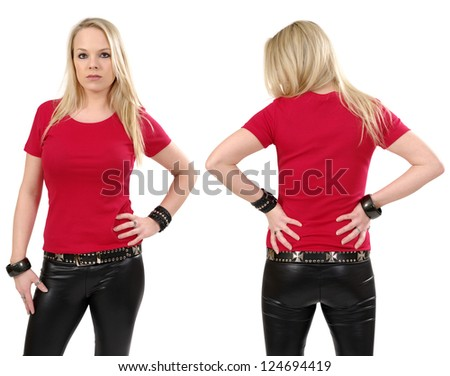 Young beautiful blond female posing with a blank red t-shirt, front and back view. Ready for your design or artwork.