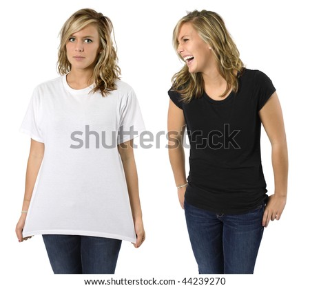 Young beautiful blond female with blank black shirt and white shirt. Ready for your design or logo.