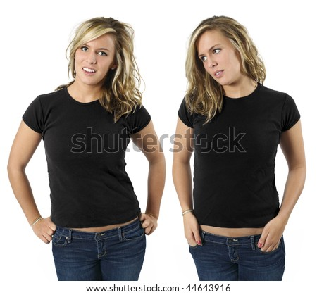 Young beautiful blond female with blank black shirts, front views. Ready for your design or logo. - stock photo