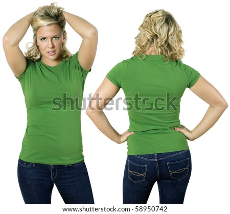 Young beautiful blond female with blank green shirt, front and back. Ready for your design or logo. - stock photo
